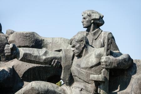 realism: Soviet era WW2 memorial in Kiev Ukraine Stock Photo