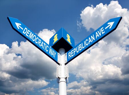 gop: election choice conceptual post with democratic way and republican ave