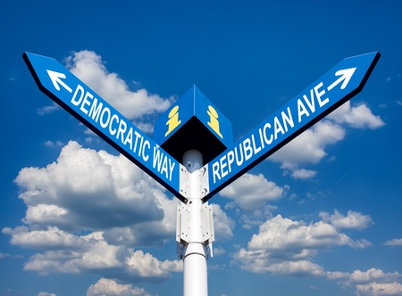 election choice conceptual post with democratic way and republican ave