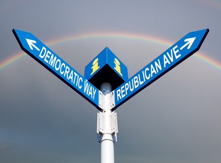 election choice conceptual post with democratic way and republican ave photo