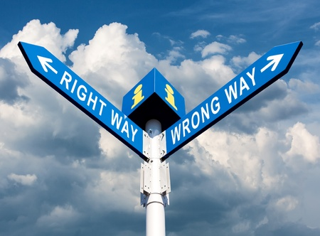 Wrong Way and Right Way Traffic Sign On Sky Background Stock Photo - 15783259