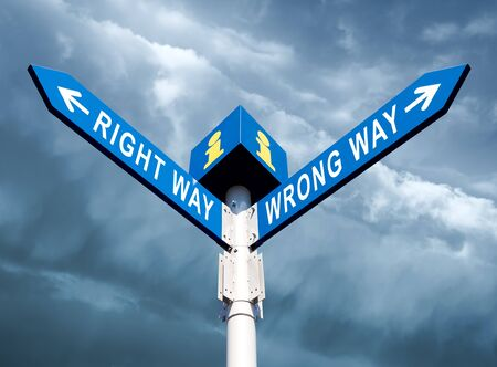 Wrong Way and Right Way Traffic Sign On Sky Background Stock Photo - 15783255