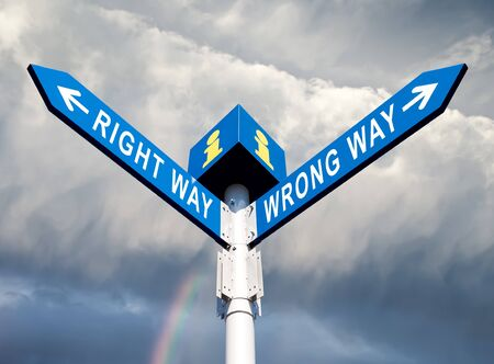 Wrong Way and Right Way Traffic Sign On Sky Background photo