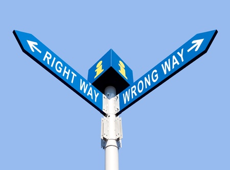 Wrong Way and Right Way Traffic Sign On Sky Background Stock Photo - 15783241