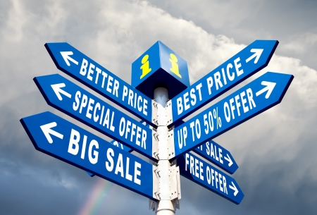 Big Sale, Better Price and Special Offer Directional Road Signs Stock Photo