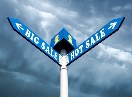 Big Sale and Hot Sale Directional Road Signs Stock Photo - 15905670
