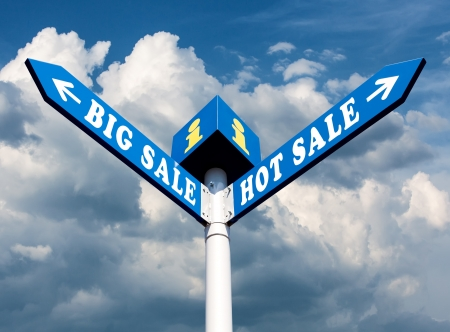 Big Sale and Hot Sale Directional Road Signs Stock Photo - 15921879
