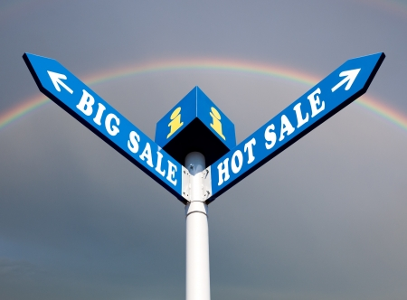 Big Sale and Hot Sale Directional Road Signs Stock Photo - 15921880