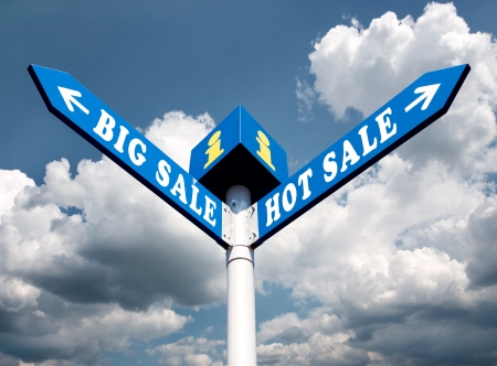 Big Sale and Hot Sale Directional Road Signs Stock Photo - 16110771