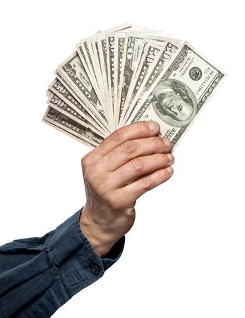 cash in hand: dinero en una mano aislada en blanco