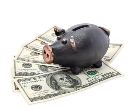 Money and black piggy bank isolated on white background. Stock Photo - 16484193