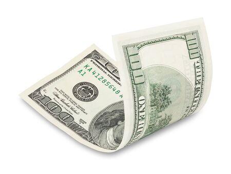 hundred dollar bill: Hundred dollar bill on white, soft drop shadow