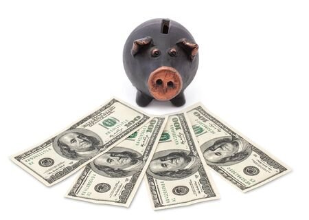 Money and black piggy bank on white background  Stock Photo - 16562810