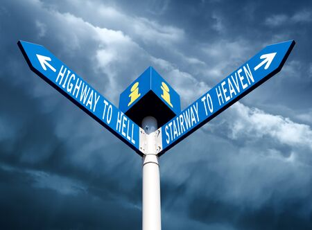 Street post with hell and heaven way signs Stock Photo - 16679138