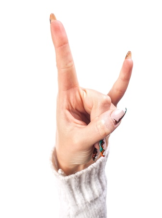 Hand - victory sign isolated on white background photo