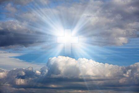 mankind: Sign of faith. Cross in sky. Stock Photo