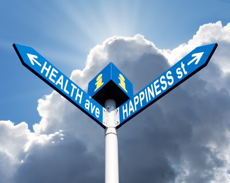 ave: Street post with health ave and happiness st signs
