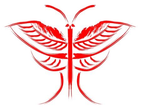 Mariposa abstracta. Imagen estilizada de una mariposa pintada trazos gruesos del cepillo Foto de archivo - 17325579