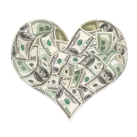 Heart sign made by 100 dollar banknotes isolated on white photo