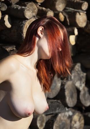 pechos: Mujer joven desnuda contra la pila de troncos de madera