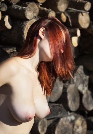 girl boobs: Young nude woman against pile of wooden logs Stock Photo