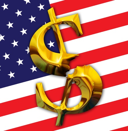 Financial crisis. Broken gold dollar on American flag background