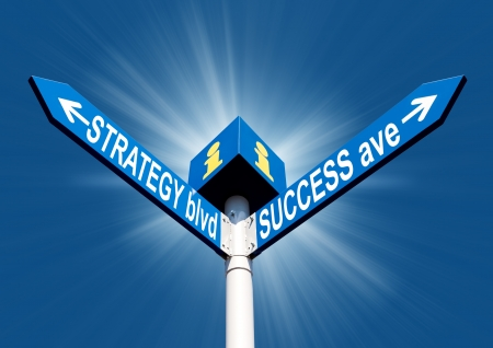 Strategy blvd and success ave direction post over blue sky and sun shine photo