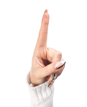 Hand with index finger raised up on a white background Stock Photo - 20838450