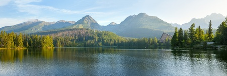 high resolution: High resolution panorama of mountain lake in National Park High Tatra. Strbske pleso, Slovakia, Europe