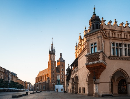 Early morning in old Krakow  Poland, Europe