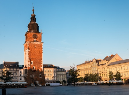 Morning in Krakow main market square  Poland, Europe
