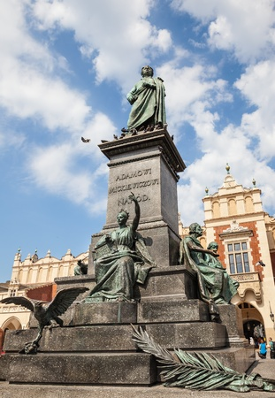 mickiewicz: Statue of Adam Mickiewicz, famous Polish poet, on the central market square in Krakow, Poland  Editorial