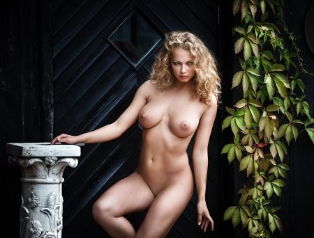 breast beauty: Beautiful nude woman posing near the old country house