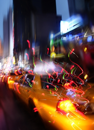 a place of life: Illumination and night lights of New York City. Intentional motion blur