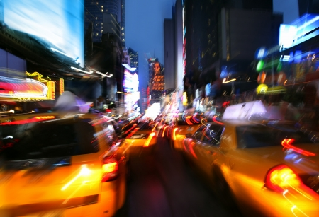 new buildings: Illumination and night lights of New York City. Intentional motion blur
