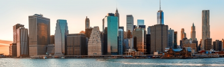 city  buildings: Manhattan. Evening New York City skyline panorama