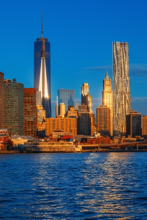 world trade center: World Trade Center. Lower Manhattan skyline along the East River. New York City.