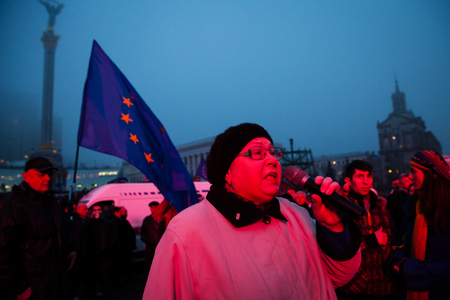 outcry: KIEV, UKRAINE - NOVEMBER 24: EuroMaidan - People protest after Ukraine suspended talks with European Union on association Editorial