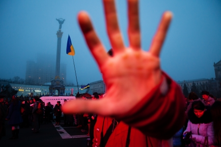 european integration: KIEV, UKRAINE - NOVEMBER 24: EuroMaidan - People protest after Ukraine suspended talks with European Union on association Editorial