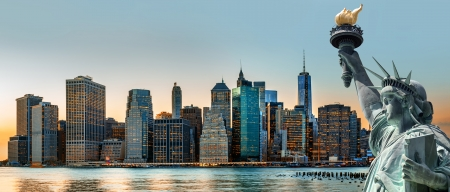 Symbols of New York  Manhattan Skyline and The Statue of Liberty, New York City photo