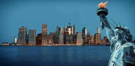Symbols of New York. Manhattan Skyline and The Statue of Liberty, New York City photo