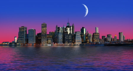 Manhattan at moon light. New York City skyline panorama
