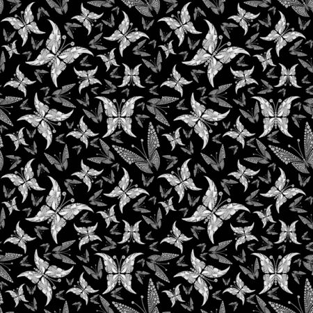 tessellate: Butterfly seamless colorful abstract pattern made by flowers