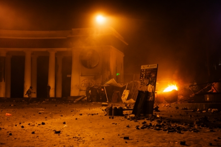 disillusionment: KIEV, UKRAINE - January 20, 2014: The evening after the violent confrontation and anti-government protests on the Hrushevskoho Street Editorial