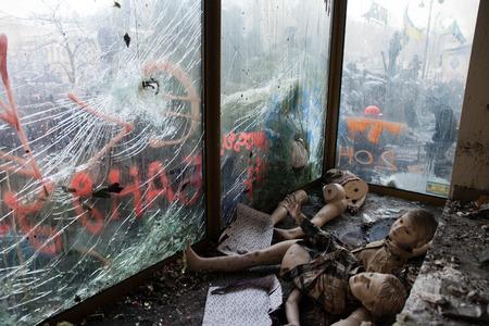 maidan: KIEV, UKRAINE - January 26, 2014: Mass anti-government protests in the center of Kiev. Chaos and devastation on Hrushevskoho St.