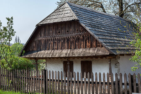 lopsided: Old wooden house. Museum of Folk Architecture in Uzhhorod Editorial
