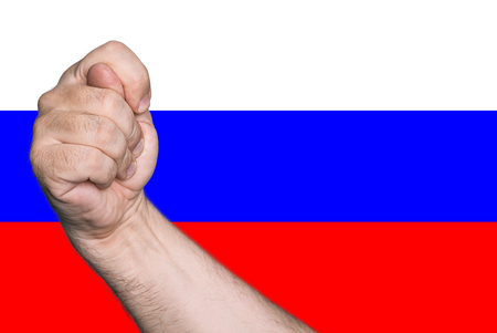 avidity: Political metaphor. Fig against the background of the Russian flag colors. Stock Photo
