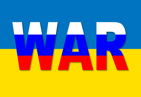 imperialism: Political metaphor. Russian Ukrainian conflict. Word WAR written by colors of the Russian flag on the background of Ukrainian flag Stock Photo