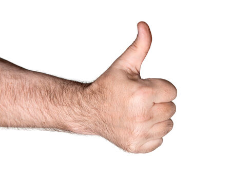 gratified: Body part. Thumb up sign.Isolated on white background