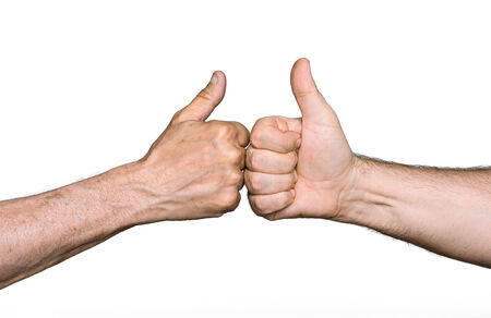 gratified: Partnership. Thumbs up sign isolated on white